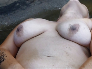 Ape wife fingering in water