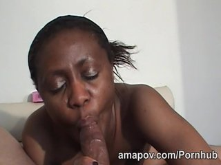 Black chick showers before sucking dick