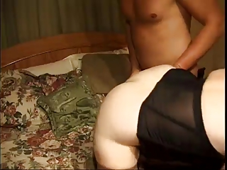 Old MILF Fucked Hard By Two Men On Bed