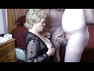 Granny Takes on Two Cocks