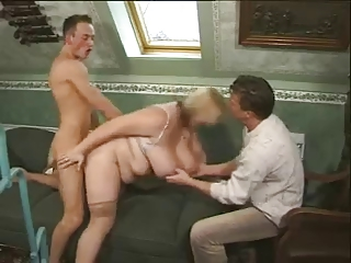 BBW Gets Two Cocks