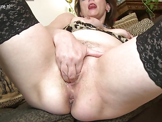 Naughty mother playing with her pussy