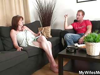 Mother-in-law rides young dick and wife comes in