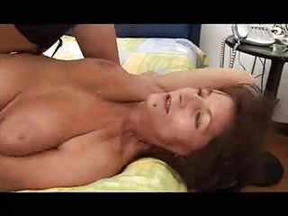 Italian mature with saggy tits.