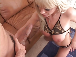 Busty blond gets deep anal drilling on couch