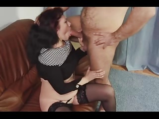 Mature woman with devil inside her pussy