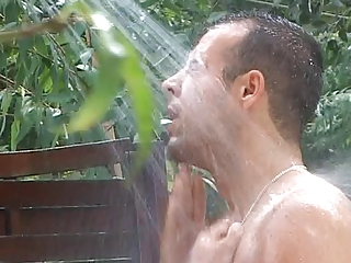 Loose French whore sucks fat cock and gets fucked in outdoor shower