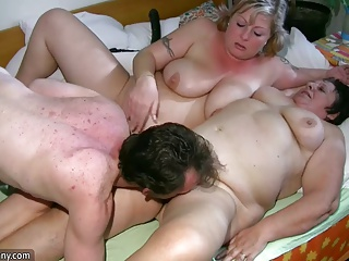 Old chubby Granny has massage of BBW mature Nurse