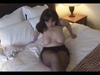 Big tits mature in crotchless pantyhose