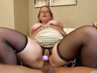 Blonde chubby chick rides dick with a dildo included too