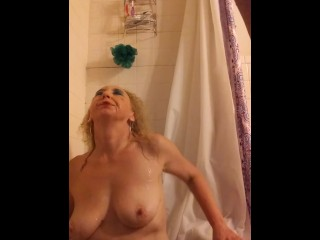Killer all-natural towheaded MILF's red-hot, humid, golden bathroom with my make-up on