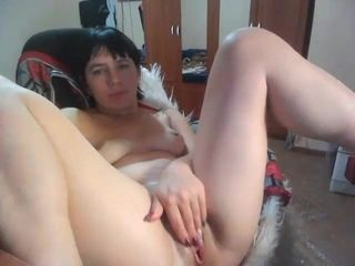 busty mature woman fingering her pussy with lovense masturbater