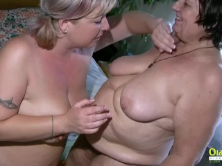 OldNannY plus-size Mature lesbos toying Together
