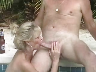 wife sucks cock in pool