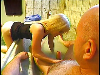 Hot blonde with great tits loves big dildo play and rides a hairy guys big dick