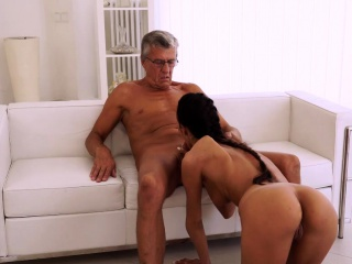 Elderly4K. Youthful female tastes chief's pipe in super-cute elderly and...