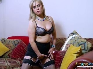 Mature abnormal platinum-blonde plays with her monstrous boobies as shortly as she shows them