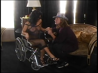 Sativa Rose's box licked in a wheelchair then cocked on the living room floor