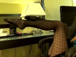 Latina MILF Ash in polkadot stockings fucks sexy camel toe