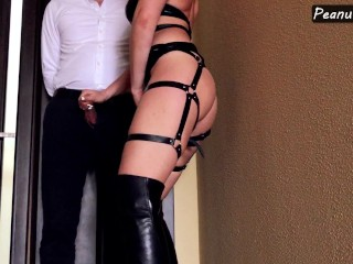 Mistress in high leather boots and harness teasing cock till huge cumshot