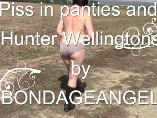 Urinate in underpants and Hunter Wellingtons