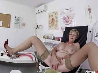 Ginormous breast wooly thicket grannie gets raunchy point of view fingerblasted and pulverized by her therapist