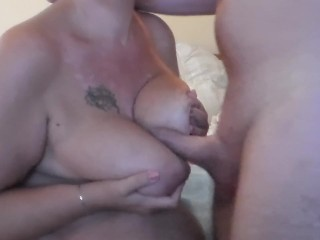 John is Spanking Jens Big Tits with his Cock