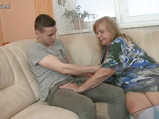 Young son fucks hot big breasted granny