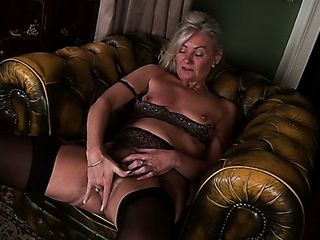 Horn-mad grey haired milf Ellen B is always prepared for some getting off