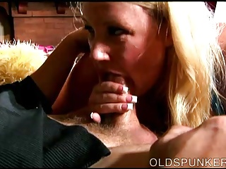 Busty old spunker loves to suck cock and eat cum