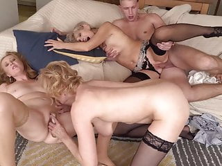 3 mature mothers sharing youthfull son-in-law