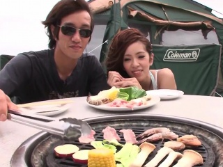 Chinese gf blows her stud outdoors