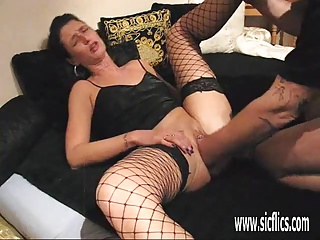 Brutally fisting his wifes cavernous greedy pussy
