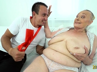 Grandmother likes firm man meat in Her Mature cooch