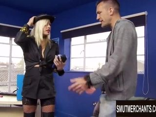 Ultra-kinky police officer Michelle Throne makes him pay a ticket with his prick