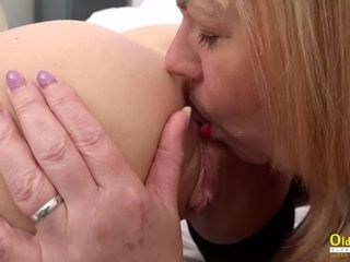 OldNannY lesbo Mature girls in spandex Corsets