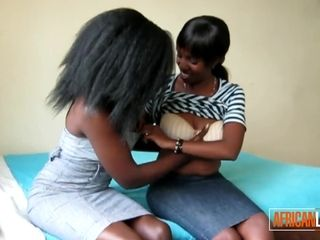 First-timer huge-titted African lesbos slurping coochies