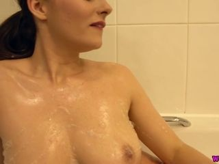 Alone and too insane nymphomaniac Charlie Rose plays with hooters in the shower