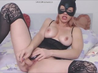 CAT Woman with Big Tits Masturbating in Lingerie