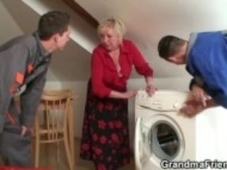 """Old blonde spreads legs for two cocks"""