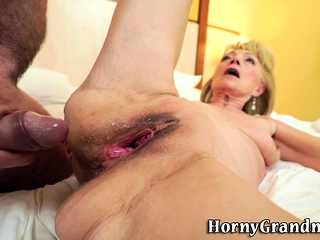 Grannie gets gash torn up and spermed