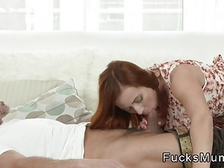 Redhead mom in stockings banged