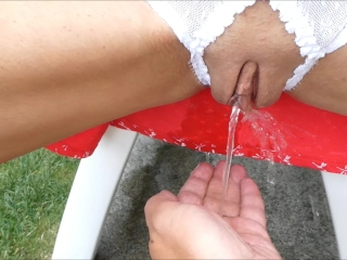 Molten cougar piss piss outside in her sundress and on my arms point of view