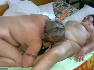 Threesome with old granny and fat mature