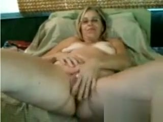Big-boobed platinum-blonde Mature getting off With Sextoy