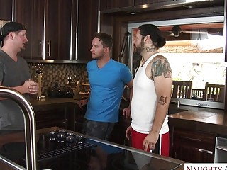Tatted platinum-blonde cougar loves gonzo railing after providing a oral