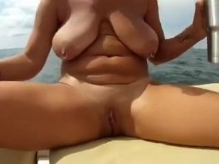 Fat saggy hooters mature cougar on boat