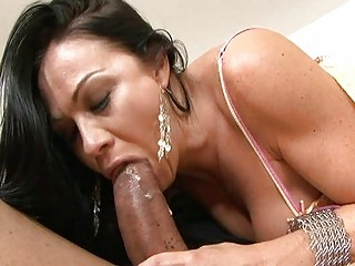 Cuckold looks how his wife suck big penis