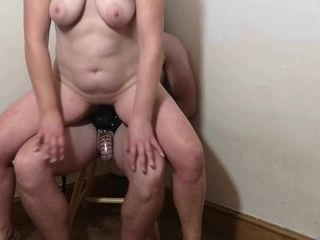 Spiked chastity cage torture for husband while i ride big dildo