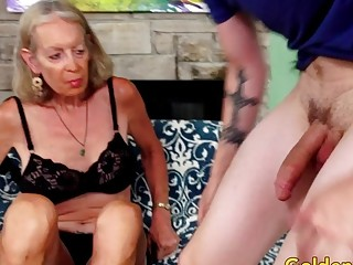 Tall grandma supah magnificent Has Her cock-squeezing bulls eye widened by a junior man